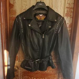 Womans Harley Davidson heavy leather jacket